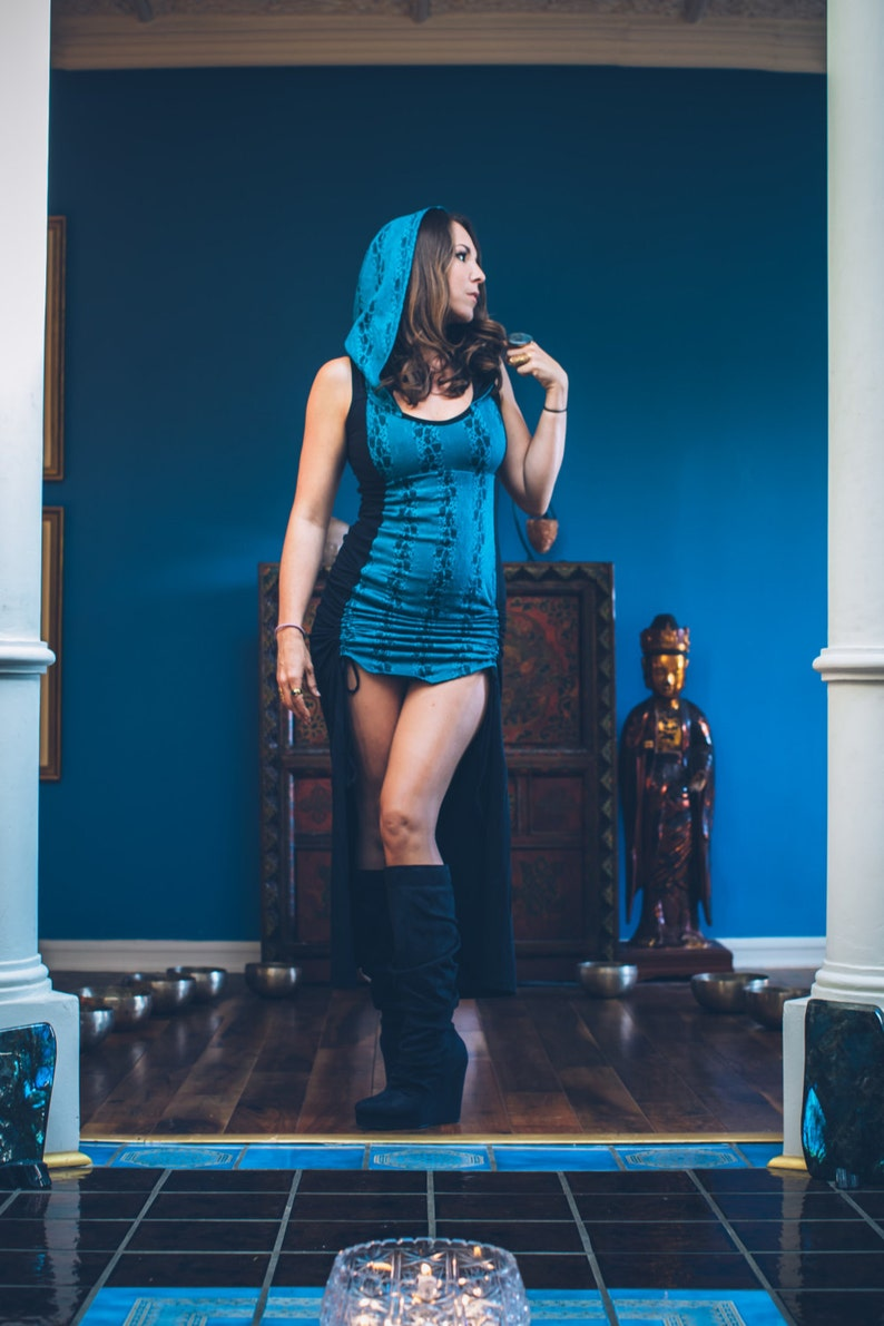bcfee9f105b Royal Storm Dress Black with Teal Lace Forest Conjurer