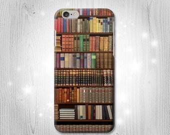 Bookshelf Hard Leather Flip Case IPhone Xs Max XR X 8 Plus 7 Samsung Galaxy S9 S8 Note 9 J7 J3 Google Pixel HTC