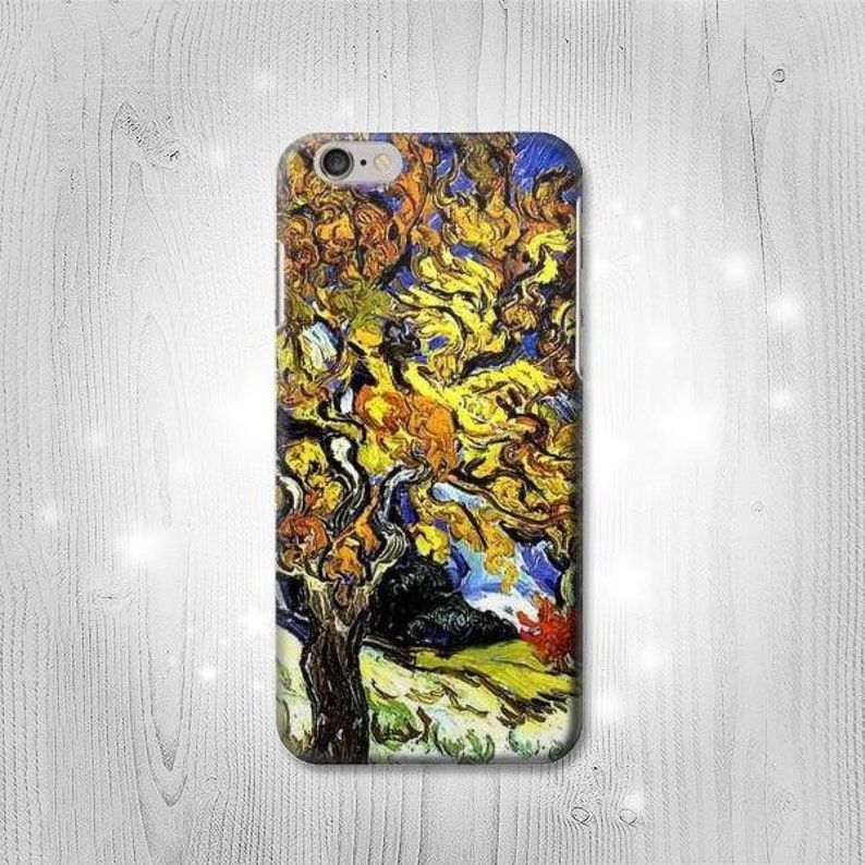 new styles 1ed17 78ee7 The Mulberry Tree Van Gogh Hard & Leather Flip Case iPhone Xs Max XR X 8  Plus 7 Samsung Galaxy S10 S9 S8 Note 9 J7 J3 Google Pixel