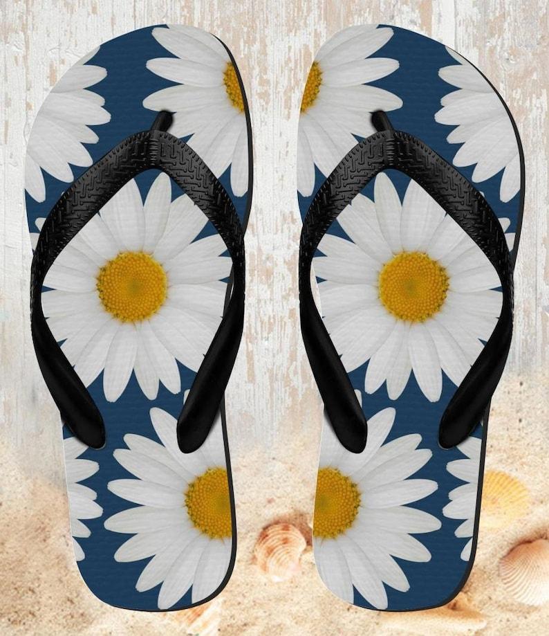 Daisy Blue  Beach Slippers Sandals Flip Flops