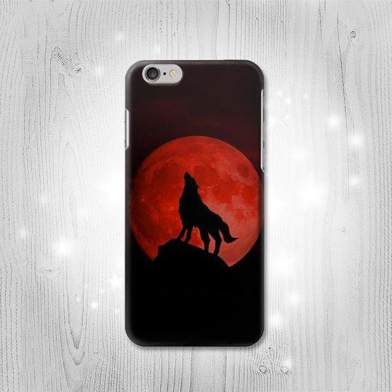 91a1bc6fd79a Wolf Howling Red Moon Hard & Leather Flip Case iPhone Xs Max XR Samsung  Galaxy S10 Note 10 10+ A70 A50 A40 J7 J3 Google Pixel