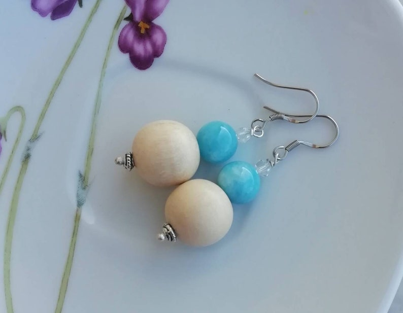 Light blue sky jade earrings wooden dangle earrings handmade jewelry light blue earrings gemstone earrings wooden earrings