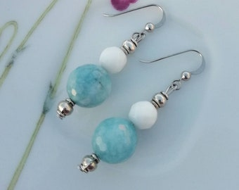 Angelite stone bead earrings, agate stone earrings, light blue and white earrings, dangle earrings, My special gift