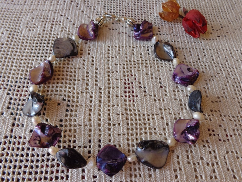 My special gift mop choker black and purple necklace Mop and freshwater pearls necklace mother of pearl necklace