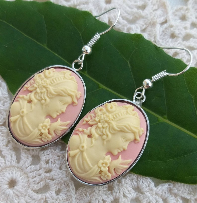 vintage style earrings Lady cameo earring handmade dangle earrings ivory earrings elegant cameo earrings pink cameo earrings