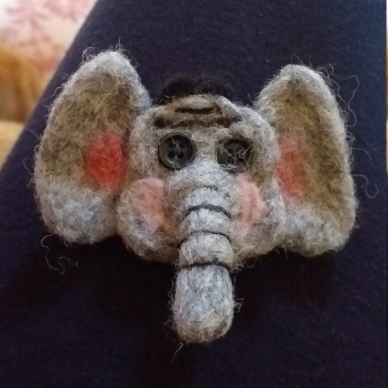 Needlefelted Elephant Brooch