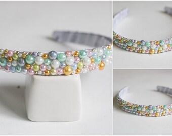 Wrap hair. Wrap hair in beads and rhinestones. Beautiful hair ornament. Colored hair hoop.