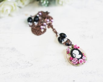 Pendant with cameo and flowers.Pendant made from polymer clay.Women's pendant with flowers.