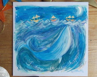 I saw three ships - Illustrated Hand Drawn Christmas Card - set of six / 6 cards