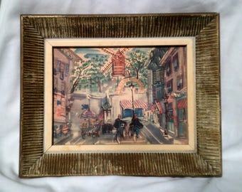 """50's Vintage Post Impressionist Montmartre and Parisian Street Scene Ink & Watercolor in Textured Beveled Frame - 8.75"""" x 10.5"""""""