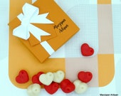 Marzipan Hearts Box Of 9 -  Valentine Hearts Vegan Foodie Valentines Day Gift