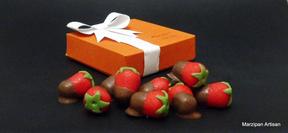Chocolate Dipped Covered Marzipan Strawberries Just Because | Etsy