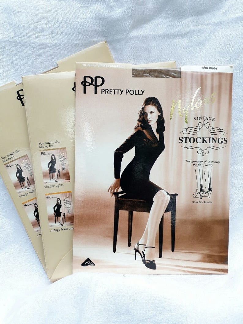 2 Pairs Vintage Pretty Poly Plus nude nylon pantyhose w// model One size