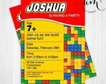 Printable Building Blocks Party Invitation | Personalized