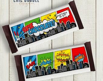 INSTANT ACCESS   Superhero Comic Chocolate Wrappers   Retro   Printable   DIY