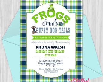 Printable Frogs, Snails & Puppy Dog Tails Baby Shower Invitation