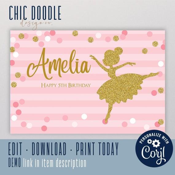 Signage DIGITAL Printable Ballerina Backdrop Birthday Backdrop Party Banner Printable Backdrop Poster