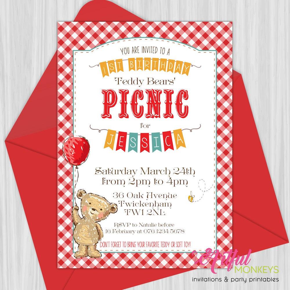 Printable Teddy Bears\' Picnic Invitation   Etsy