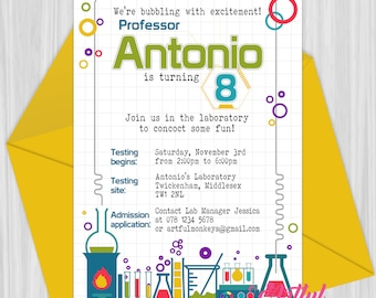 Printable Science/Chemistry Party Invitation | Personalized