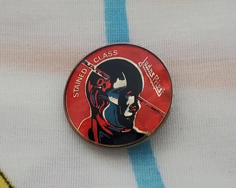 80s Judas Priest 1 mirror badge button Stained Glass F014