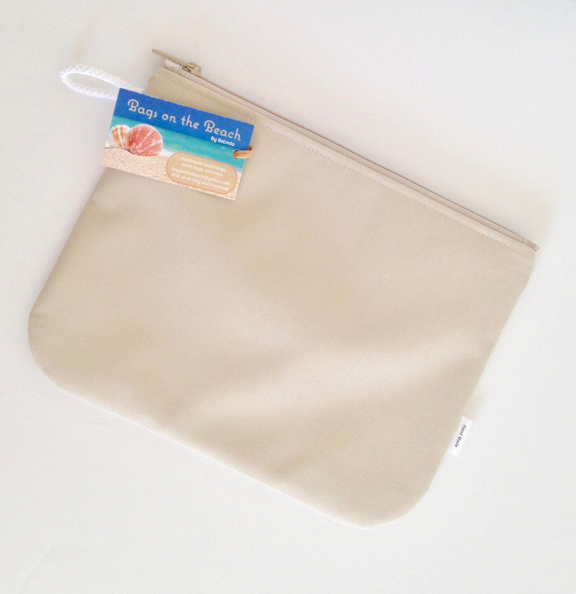 Beach Pouch, Waterproof, Splash Proof, Zippered Pouch, Beige, Pool Pouch,  Wet Bag, Cosmetic Bag, Supplies Bag,