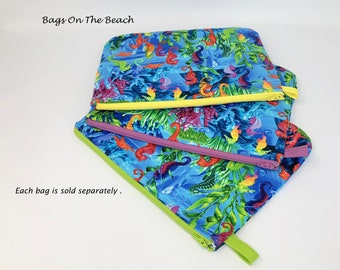 Wet Bag, Splash Proof Bag, Zippered Pouch, Beach Pouch, Splash Proof Pouch, Colorful Seahorses, Sea Life, Under The Ocean, Cosmetic Bag