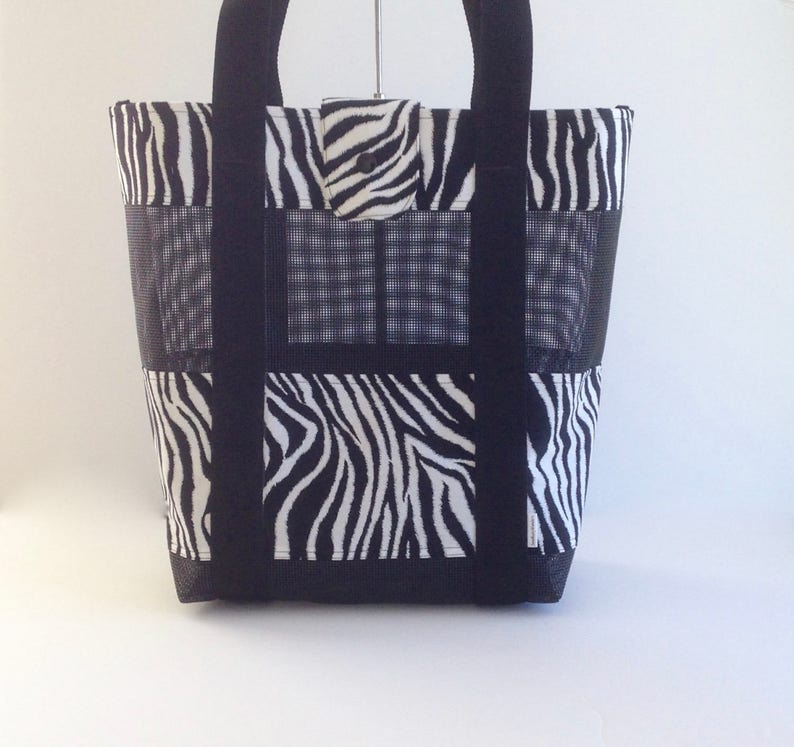 033ce33e706e Mesh Beach Bag Black White Tote Bag Black White Beach Bag