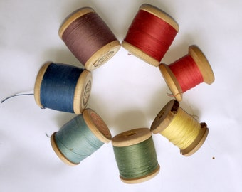 Quilting Supply Vintage Bobbins Cotton Threads Thread Rollers USSR Set of 6 Soviet wooden spools with cotton threads Bobbins   home decore