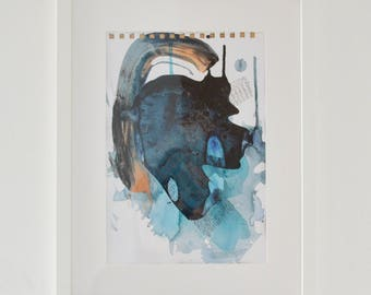 Abstract painting, framed, acrylic and pencil