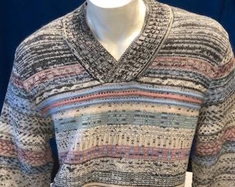 Men's 100% Baby Alpaca Pink Blue V-Neck Sweater Pullover