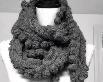 Alpaca Hand Knit Cable Knit Scarf in Gray