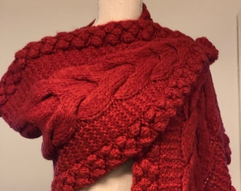 Alpaca Hand Knit Cable Scarf in Red