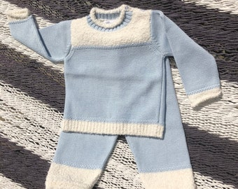 Boucle Cotton Knit Sweater and Legging Set,  Blue, Pink and White - Baby Shower Gift