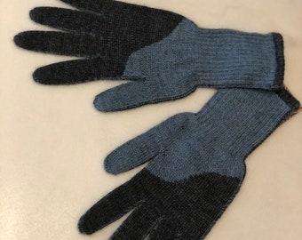 Light Blue and Gray Alpaca Gloves