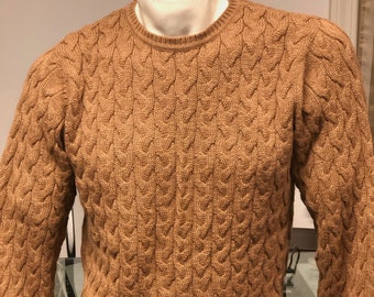 Men/'s Lux Roundneck Cable Knit Brown Sweater