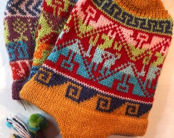 Peruvian Hand Knit Wool Hats with Earflaps and Pom Poms
