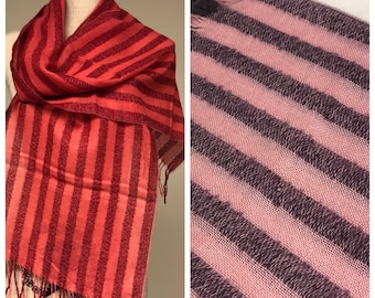 Striped Alpaca Scarf in Lavender, Pink and Red