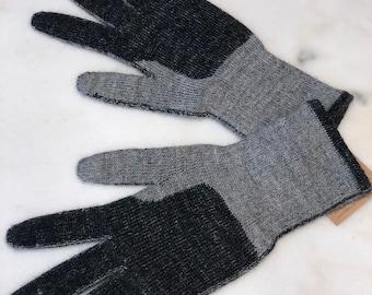 Gray and Black Alpaca Gloves