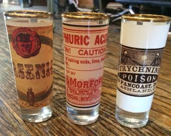 Set of 3 Exclusive LE Vintage Poison Label Shot Glasses Gold Rimmed Halloween Arsenic Sulphuric Acid Strychnine