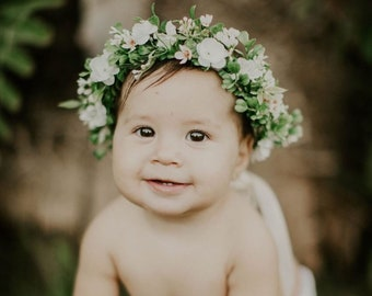 Flower Crown, Newborn Crown, Greenery Crown, Baby Flower Crown, Floral Halo, Flower Girl Crown, Ivory Flower Crown, Bridal Halo
