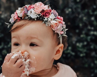 Flower Crown Headband, Newborn Flower Headband, Nylon Headband, Baby Flower Headband, Photo Prop, Flower Girl, Baptism, Nylon flower crown