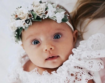 Flower Crown, Toddler Flower Crown, Newborn Nylon Flower Crown, Baby Photo Prop, Birthday Crown, Baby Flower Crown, Valentine's Crown