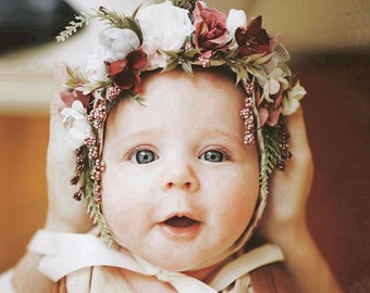Flower Crown Bonnet,  Floral Bonnet, Baby Bonnet, Baby Flower Bonnet, Baby Photo Prop, Sitter Bonnet, Easter Bonnet, Flower Hat, Floral Hat