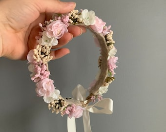 Flower Crown, Newborn Crown, Flower Crown Halo, Baby Flower Crown, Floral Halo, Flower Girl Crown, Baby's Breath Flower Crown, Halston Crown
