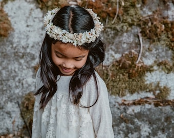 Flower Crown, Newborn Crown, Tieback Flower Crown, Baby Flower Crown, Flower Crown Halo, Flower Crown, Ivory Flower Crown, Dried Floral Halo