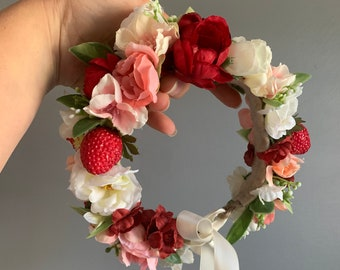 Flower Crown, Strawberry Flower Crown, Flower Halo, Baby Flower Crown, Strawberry Flower Crown, Fruit Crown, Tieback Flower Halo Crown