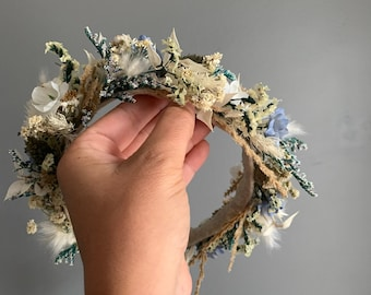 Dried Flower Crown, Newborn Crown, Flower Crown Halo, Baby Flower Crown, Dried Floral Halo, Flower Girl Crown, Blue Flower Crown, Bridal