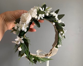 Flower Crown, Newborn Crown, Tieback Flower Crown, Baby Flower Crown, Flower Crown Halo, Flower Crown, Ivory Flower Crown, Bridal Halo
