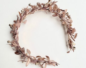 Flower Crown Headband, Rose Gold Headband, Bridal Rose Gold Halo, Rose Gold Crown, Toddler Flower Crown, Christmas Flower Crown