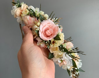 Flower Crown, Flower Crown, Tieback Flower Crown, Birthday Crown, Baby Flower Crown, Tieback flower Crown, Boho Flower Crown, First Birthday